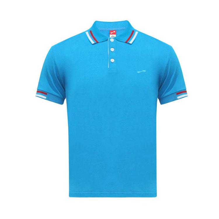 跃速男士纯色短袖休闲T恤 款号:11916(湖蓝色)