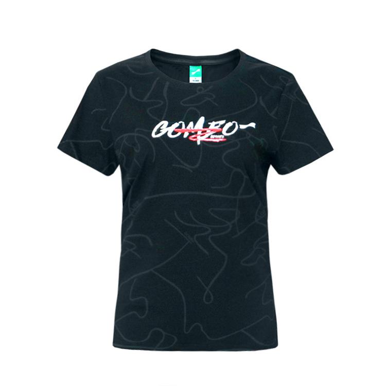 跃速女圆领短袖休闲T恤 款号:21906(黑色)