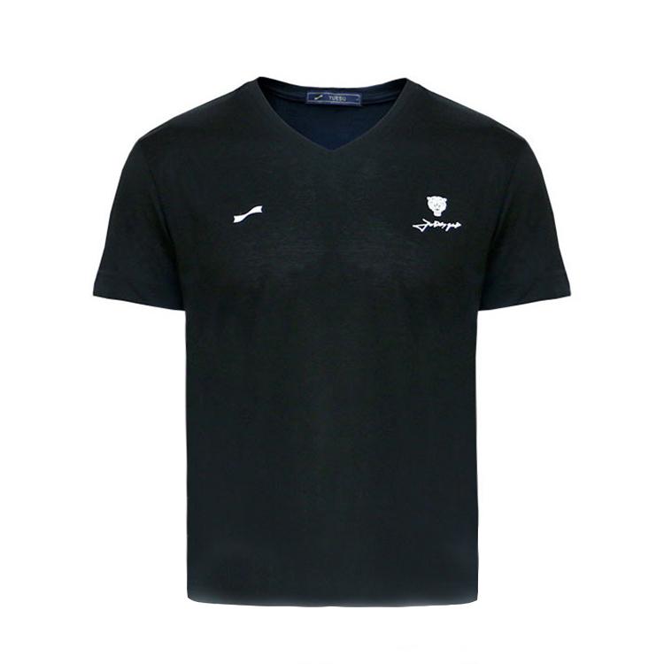 跃速男V领短袖黑色T恤 款号:11921
