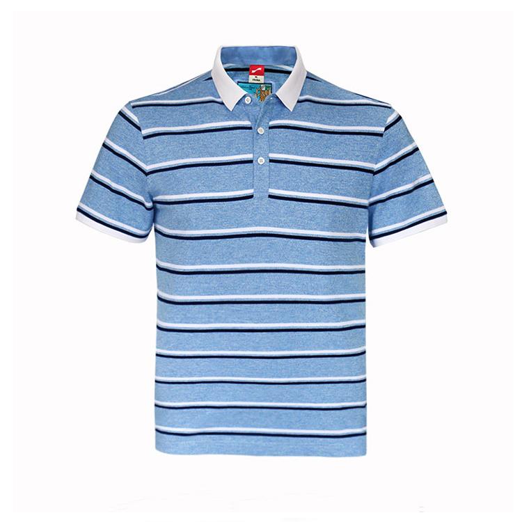 跃速品牌男士翻领条纹短袖T恤 款号:11805(天蓝色)