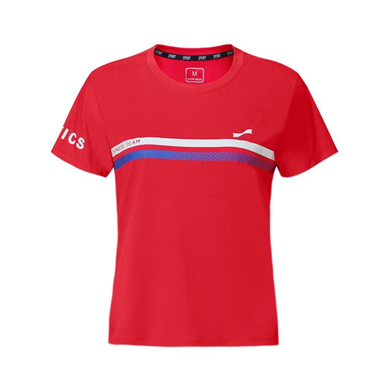 跃速女圆领短袖休闲T恤 款号:21917(红色)