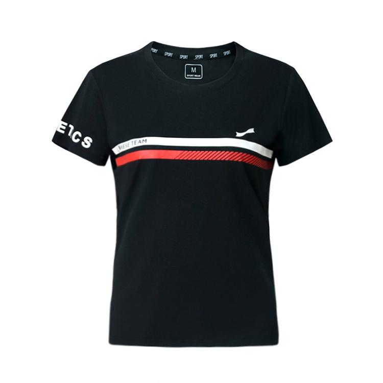 跃速女圆领短袖休闲T恤 款号:21917(黑色)