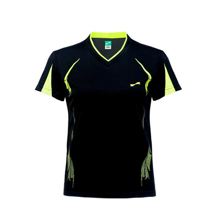 跃速女士V领短袖T恤 款号:21817(黑色)