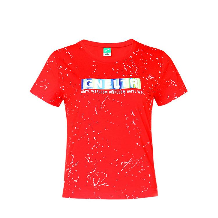 跃速套头棉短袖女士圆领T恤 款号:21811(红色)
