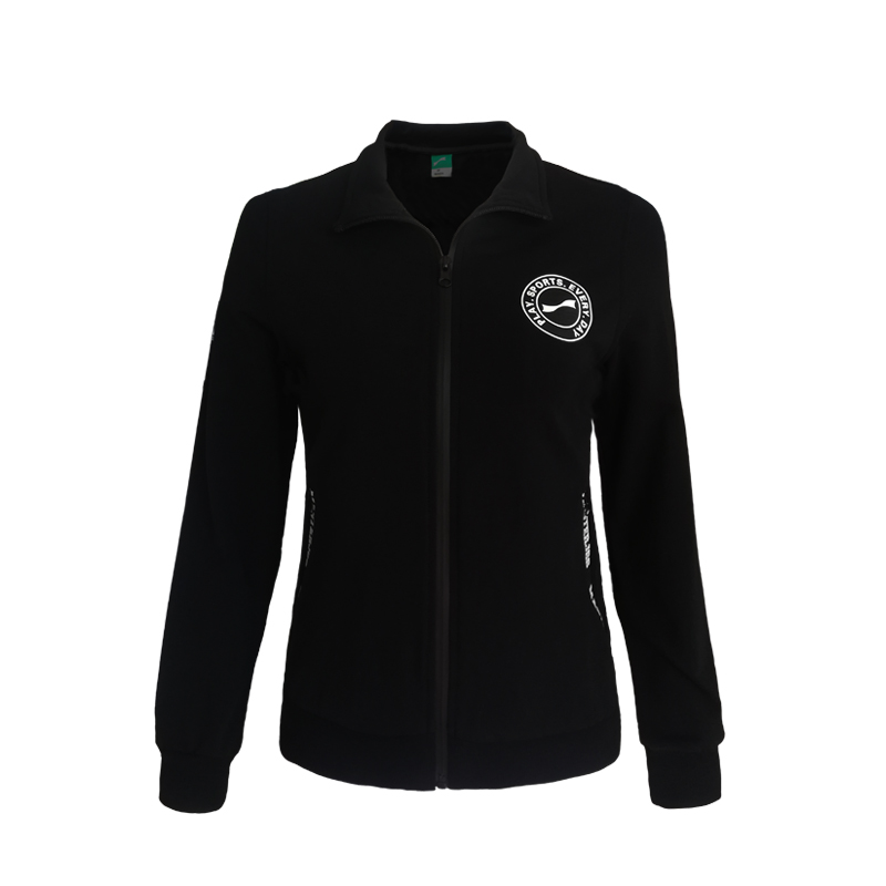 跃速体育女子方领开衫外套 女士经典纯色运动上衣 款号:23611 黑色