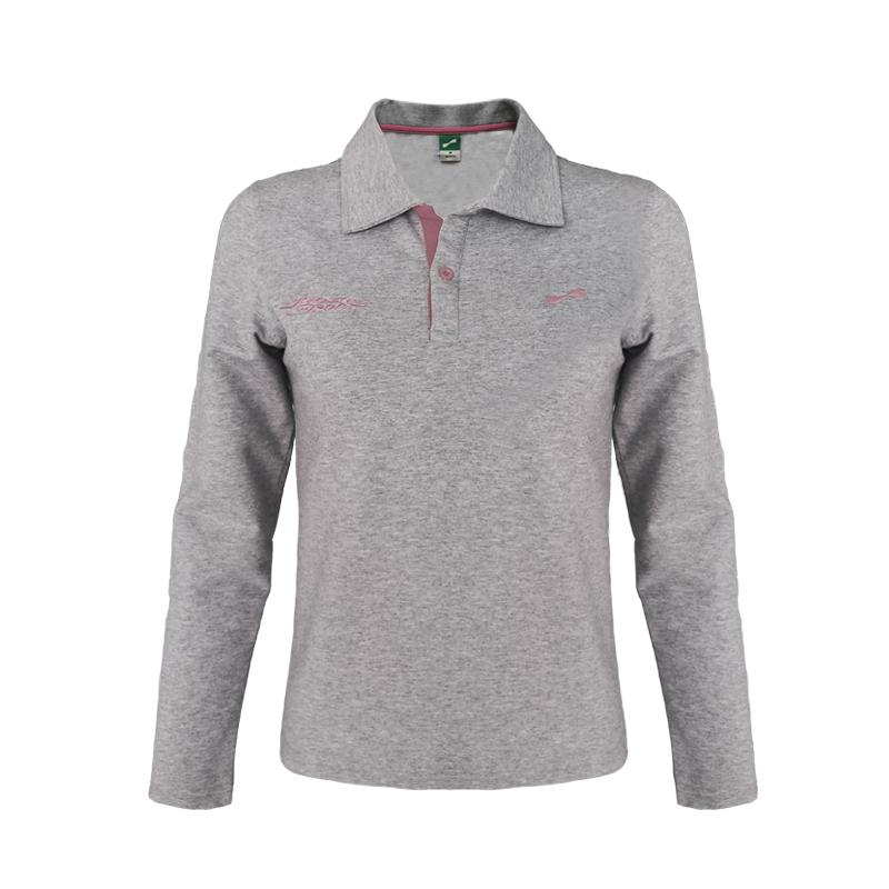 跃速体育女士方领套头卫衣 女子长袖T恤 花灰 款号:23605