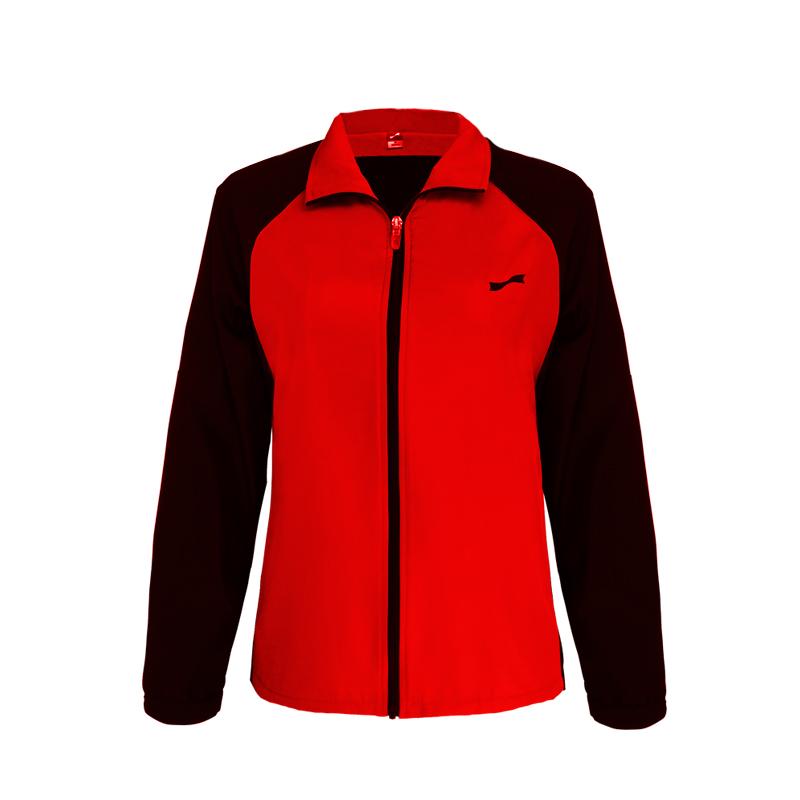 跃速体育女子运动风衣 跃速春秋季薄款上衣外套 款号:23316 红/黑