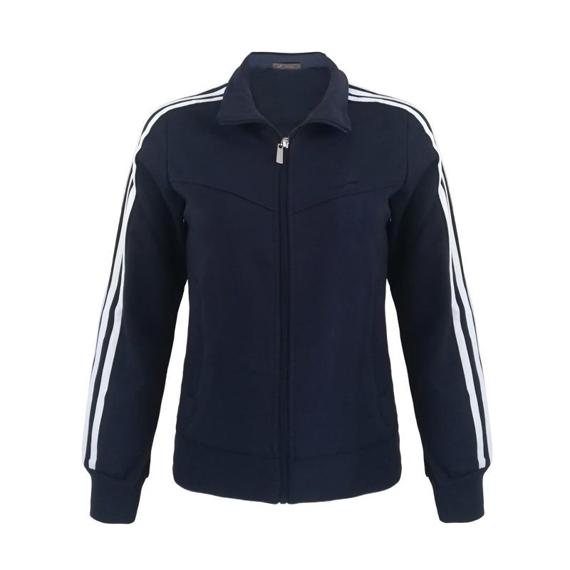 跃速体育女子运动卫衣 经典方领开衫外套 款号:13913 宝蓝/白边