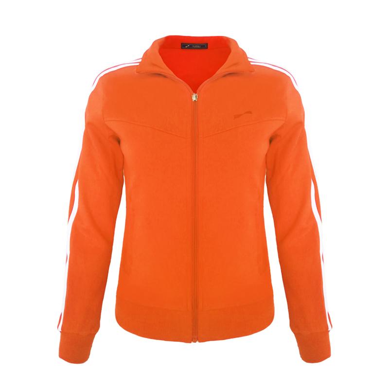 跃速体育女子运动卫衣 经典方领开衫外套 款号:13913 桔色/白边