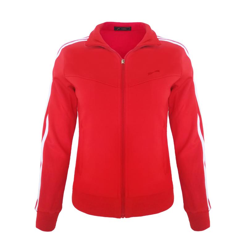 跃速体育女子运动卫衣 经典方领开衫外套 款号:13913 红色/白边