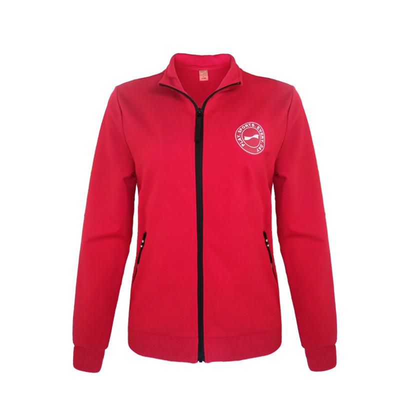 跃速体育女子方领开衫外套 跃速女士春秋季上衣 大红 款号:23803