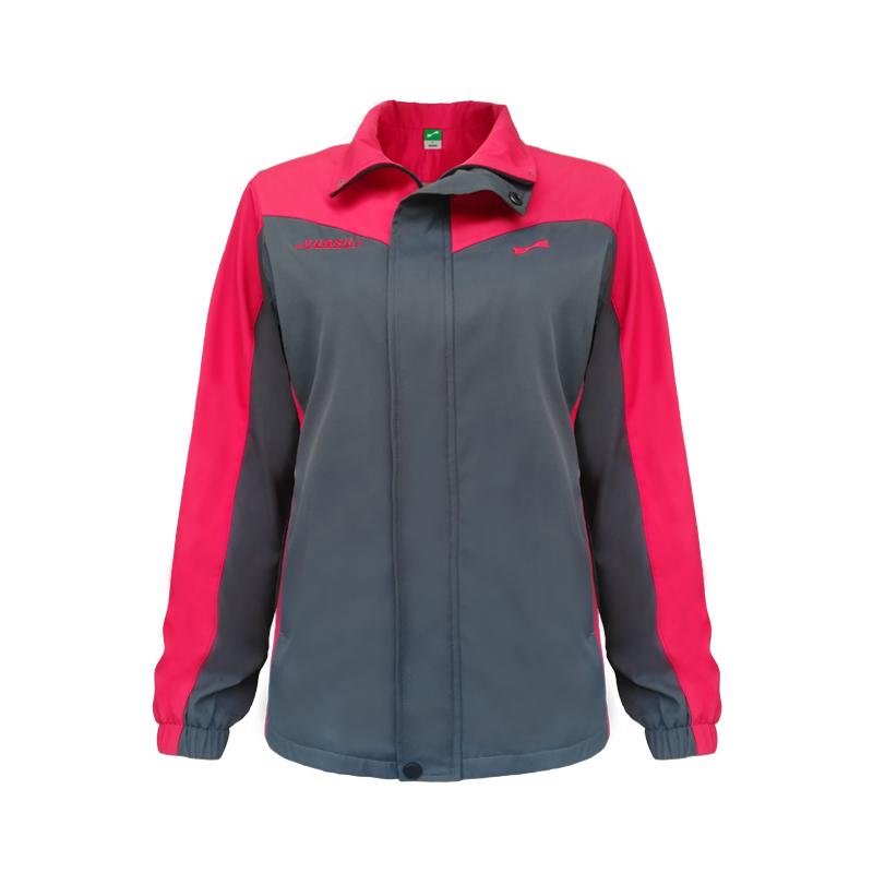 跃速女子双层加厚风衣外套 女士防风运动上衣 红/灰 款号:23701