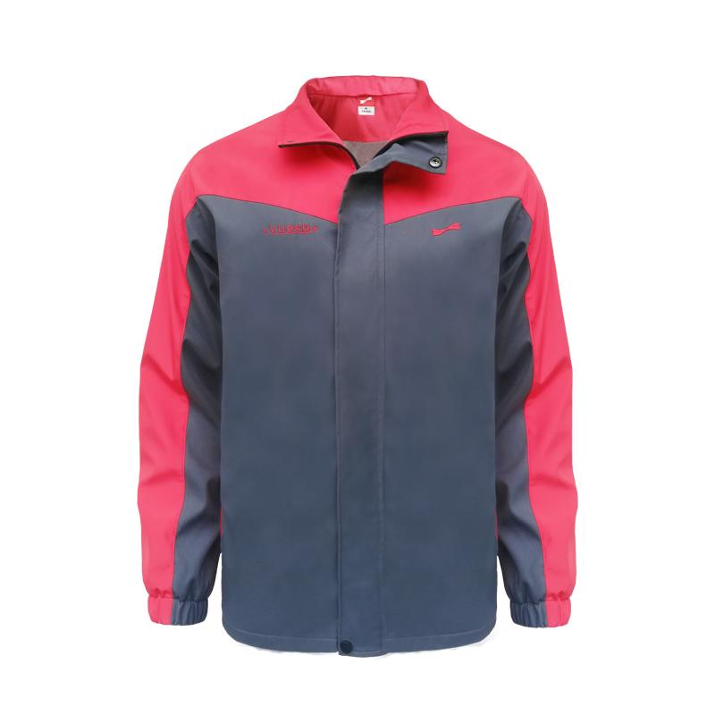 跃速男子双层加厚风衣外套 男士防风运动上衣 红色/灰色 款号:13701