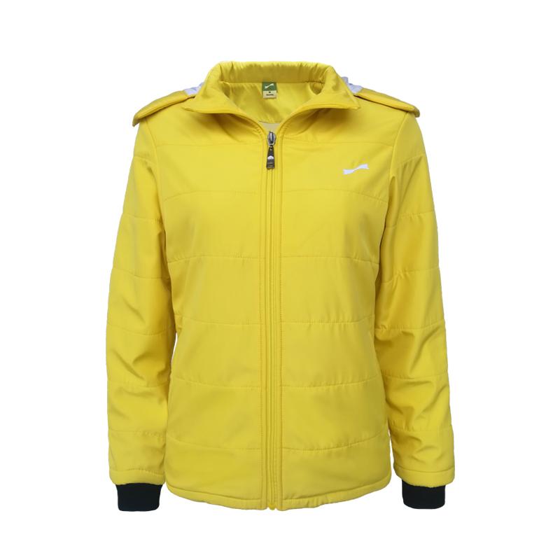 跃速女子休闲棉服外套 跃速女士冬季保暖上衣 亮黄色 款号:23331