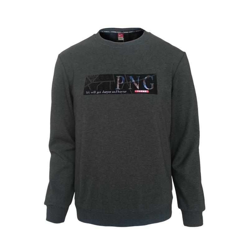 跃速男子加绒圆领套头卫衣,秋冬季上衣T恤 深灰色 款号:13811
