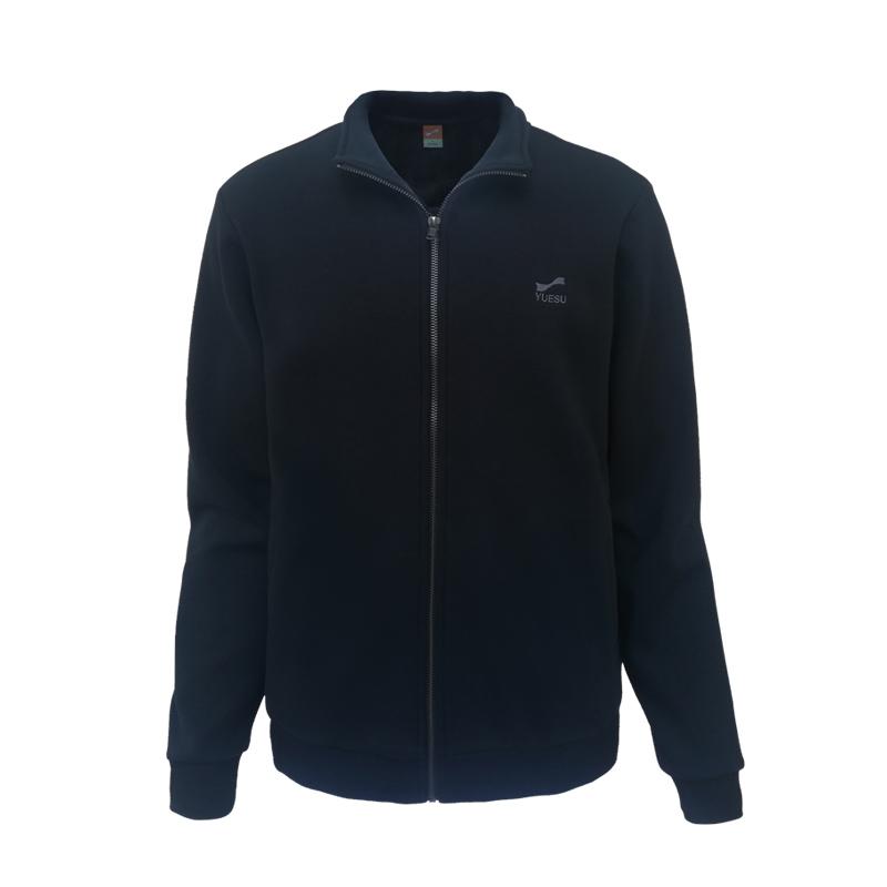 跃速男士加绒开胸卫衣外套 男子保暖上衣 黑色 款号:13709