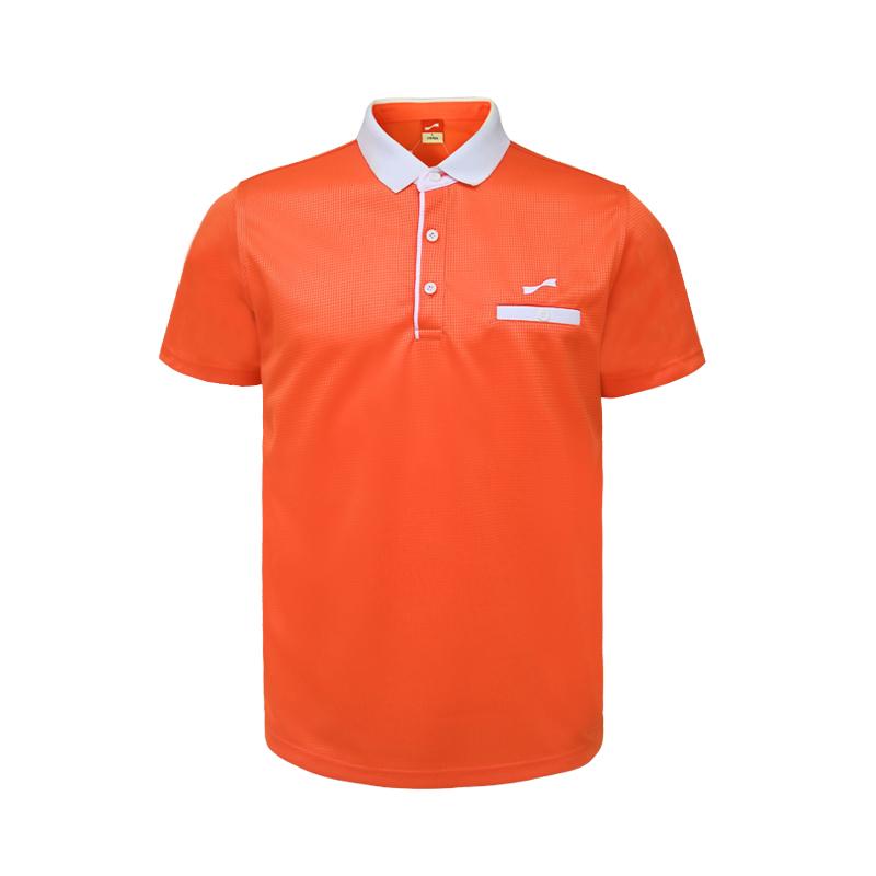 男子翻领短袖T恤 运动休闲上衣 橙红/白 款号:11717