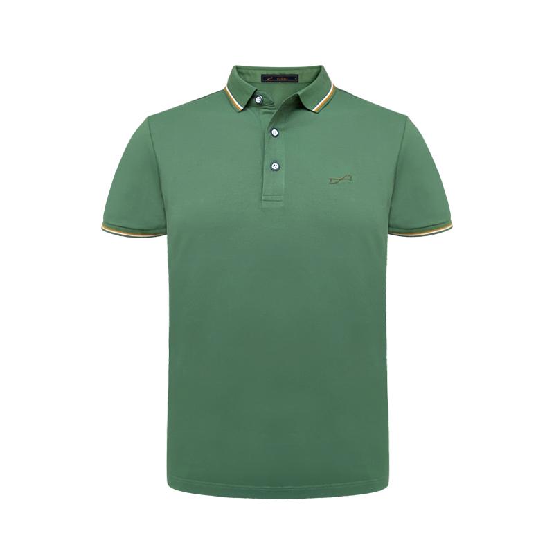 跃速绿色翻领短袖T恤 纯色简洁夏装 款号 11008