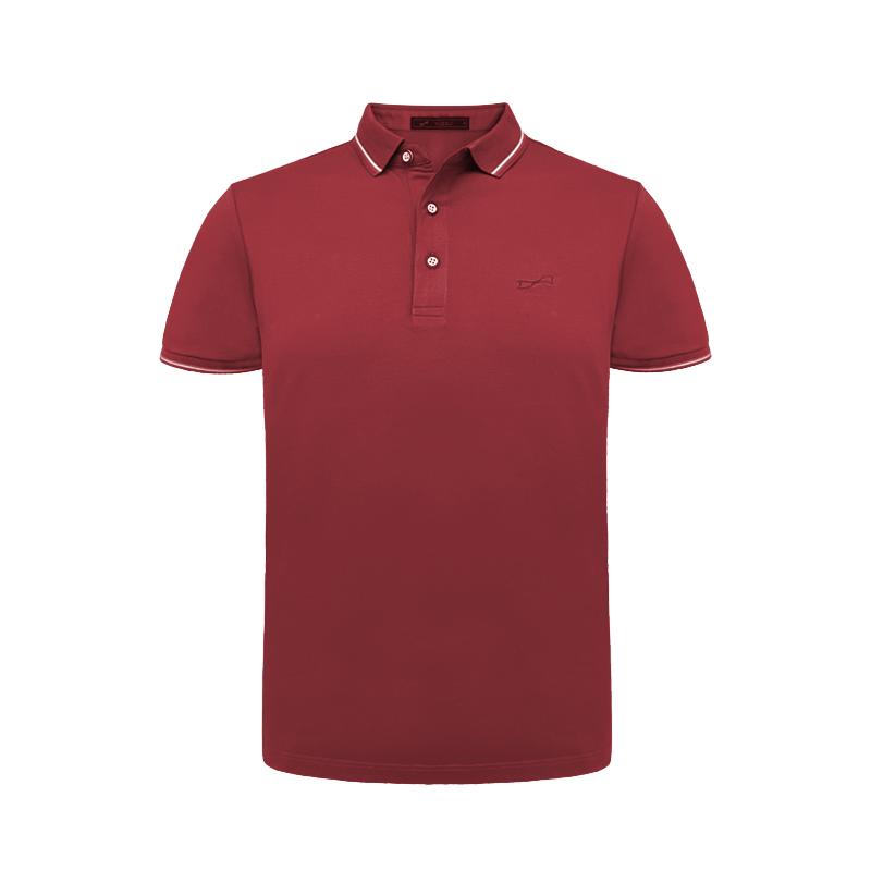 跃速经典纯色翻领短袖T恤 枣红色 款号 11008