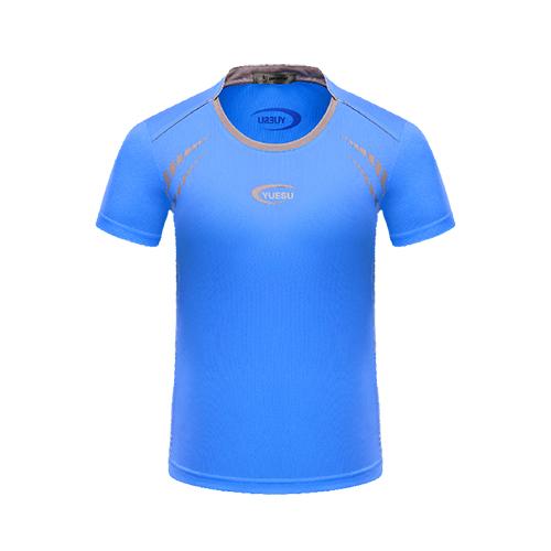 跃速男子圆领短袖运动T恤 蓝色 款号:11005