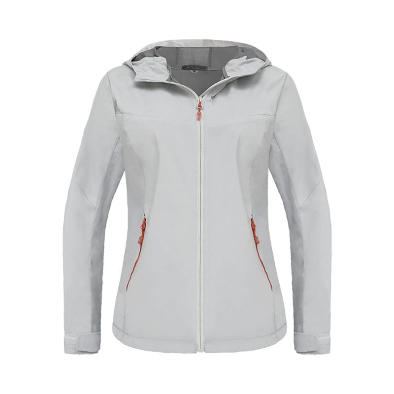 跃速最新女士时尚运动风衣外套 款号 23012 白/灰