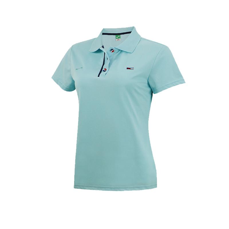 跃速女子翻领时尚运动短袖T恤 蓝色 款号:21612