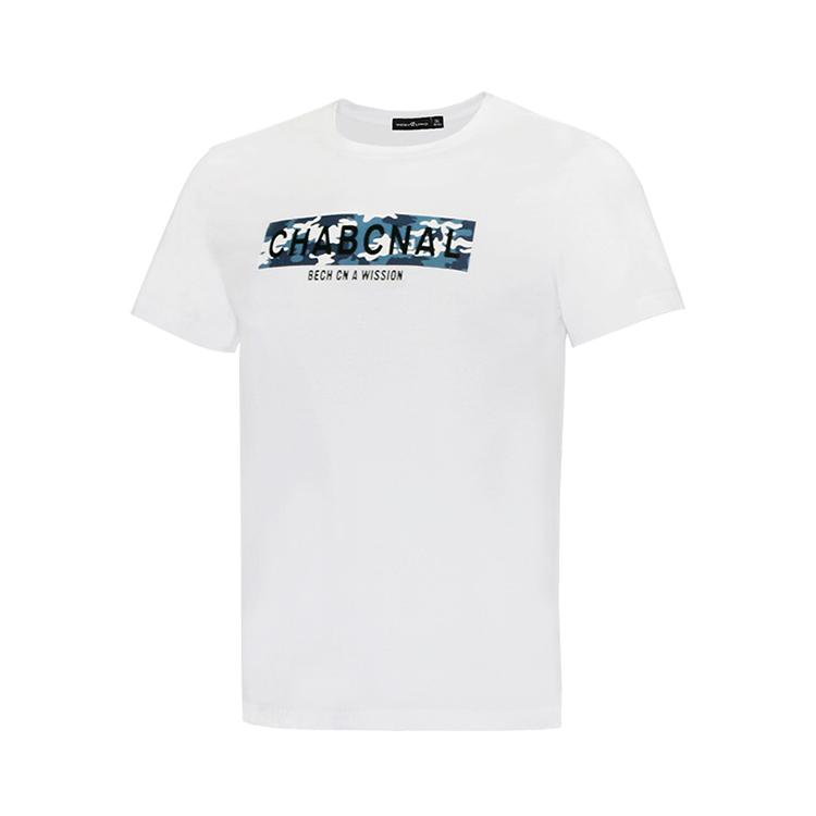 男子夏季纯色时尚图案圆领休闲T恤 白色 款号:11716