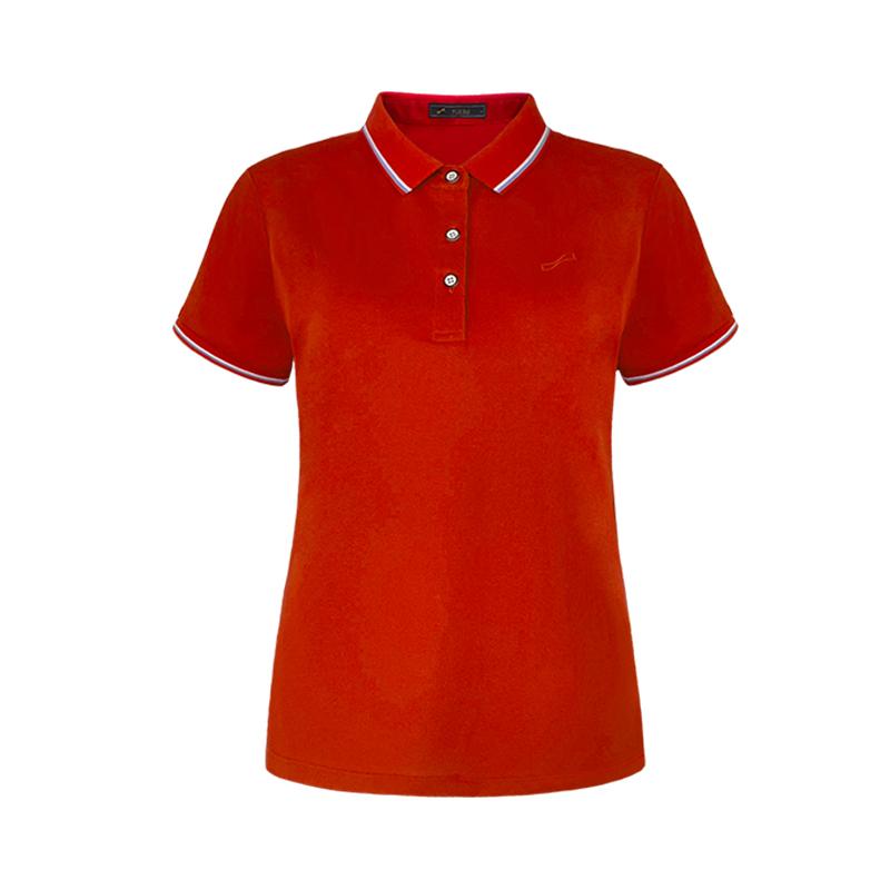跃速经典纯色翻领短袖T恤 枣红色 款号 21102